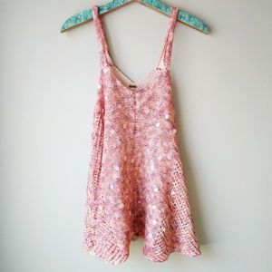 Free People Sweater Crochet Sparkly Tank Top